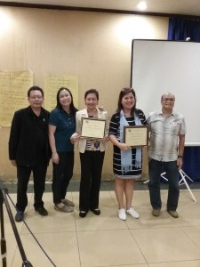 (L to R)  MGB RO-6 Division Chiefs Engr. Florian D. Jimenez (MMD), Ms. Cecilia L. Ochavo-Saycon (FAD) Dr. Annabelle A. Chavez and Ms. Lormi L. Rio of the University of St. La Salle-Bacolod, Engr. Rene B. de la Cruz (MSESDD).