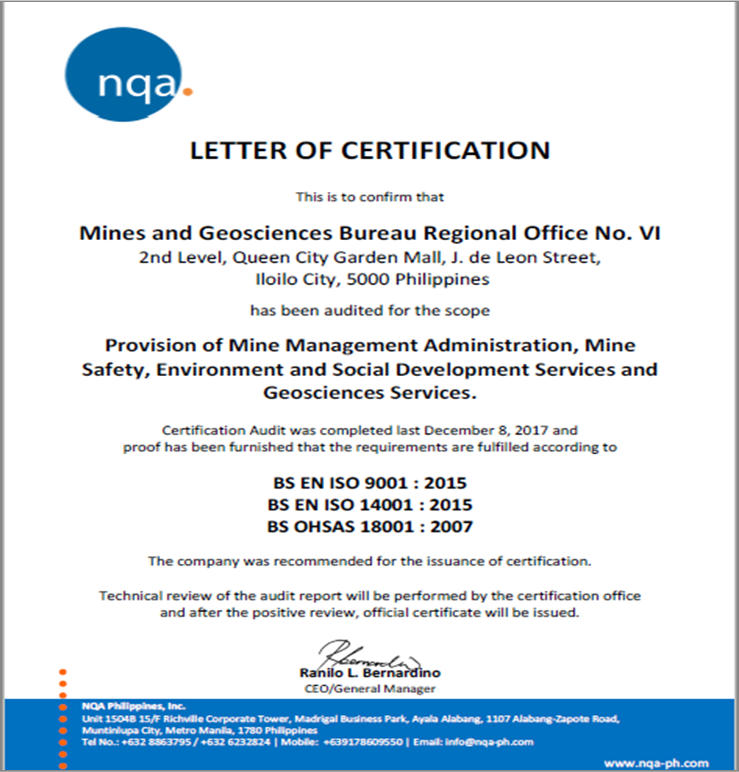 Mgb Ro 6 Fulfilled Iso Requirements In 3 Standards Certifying Body