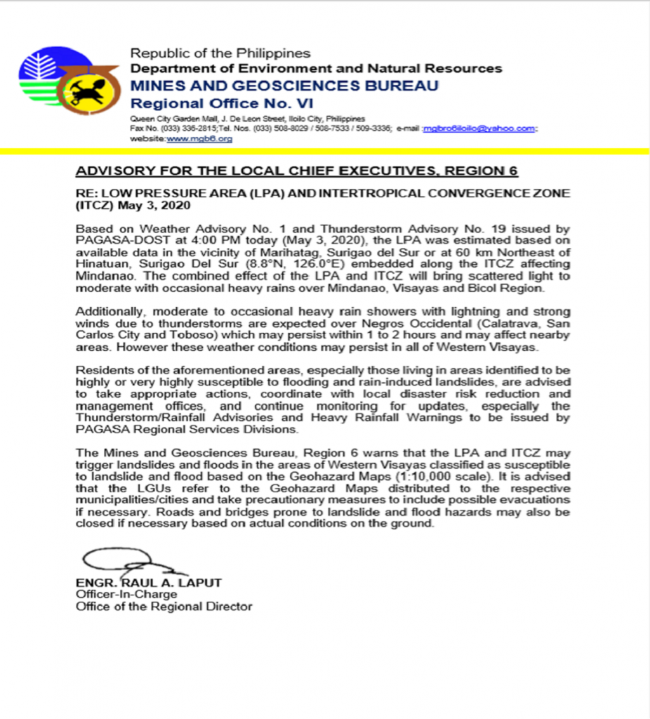 May 3, 2020 LPA and ITCZ MGB-6 Advisory